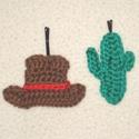 Horgolt VADNYUGAT hullámcsat:) egy kalap és egy kaktusz, Ruha, divat, cipő, Hajbavaló, Hajcsat, Horgolás, Ez a pár hullámcsat egy kalapból és egy kaktuszból áll, a tipikus vadnyugat hozzávalóiból:) Az ár e..., Meska