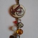 Biciklis ékszerszett, Ékszer, óra, Ékszerszett, Ékszerkészítés, Kerékpár mintás designer textil felhasználásával készült ez a szett, mely egy nyakláncot és egy gyű..., Meska