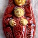 Székely Babba Mária, Képzőművészet, Magyar motívumokkal, Szobor, Kerámia, Kerámia, A kis szobrocskát fehér agyagból készítettem, majd sárga, bordó és kék mázzal díszítettem. A szobro..., Meska