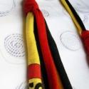 Sárga-fekete textil nyaklánc, Ékszer, óra, Nyaklánc, 100% pamut nyaklánc, félhosszú!  Fémérzékenyeknek kitűnő ajándék! , Meska