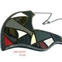 Elegáns nyaklánc, Ékszer, óra, Nyaklánc, Bőrművesség, Ékszerkészítés, Fekete, piros és szürke színű bőrök és fém cipzárok alkotják ezt a csodaszép nyakláncot. Más színek..., Meska