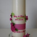 pink rózsa mintás esküvői gyertya, nászajándék , Otthon, lakberendezés, Dekoráció, Gyertya, mécses, gyertyatartó, Ünnepi dekoráció, Nászajándék, Pinkeszter megrendelésére készítettem a képen látható gyertyát, melyet pink és zöld szinű..., Meska