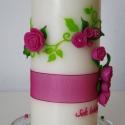 pink rózsa mintás esküvői gyertya, nászajándék , Esküvő, Otthon, lakberendezés, Gyertya, mécses, gyertyatartó, Nászajándék, Gyertya-, mécseskészítés, Pinkeszter megrendelésére készítettem a képen látható gyertyát, melyet pink és zöld szinű viaszfóli..., Meska