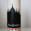 gyertya Budapest sziluettel, Dekoráció, Otthon, lakberendezés, Dísz, Gyertya, mécses, gyertyatartó, Gyertya-, mécseskészítés, Megrendelésre készítettem a képen látható gyertyát, melyet viaszfóliával díszítettem.   Budapest eg..., Meska