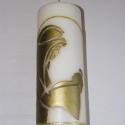 gyertya Szűz Mária sziluettjével, Dekoráció, Otthon, lakberendezés, Gyertya, mécses, gyertyatartó, Eladó a képen látható gyertya, amit arany szinű viaszfóliával díszítettem, a kis Jézust ta..., Meska