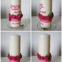 köszönetajándék gyertya pink rózsa mintával, Dekoráció, Otthon, lakberendezés, Gyertya, mécses, gyertyatartó, Nászajándék, Gyertya-, mécseskészítés, Egy kedves ismerősöm megrendelésére készítettem a képen látható gyertyát. Pink és zöld színű  süthe..., Meska