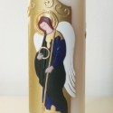 gyertya keresztelőre Szent Mihály arkangyal motívummal, Otthon, lakberendezés, Dekoráció, Gyertya, mécses, gyertyatartó, Ünnepi dekoráció, Gyertya-, mécseskészítés, Petroviczandrea megrendelésére, Mihály keresztelőjére készítettem a képen látható gyertyát.  A dísz..., Meska