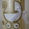 keresztelős/megérkeztem asztali gyertya arany fehérben, Otthon, lakberendezés, Dekoráció, Gyertya, mécses, gyertyatartó, Ünnepi dekoráció, Gyertya-, mécseskészítés, A képen látható keresztelős gyertyát zsombor1 megrendelésére készítettem.  Arany és fehér viaszfóli..., Meska