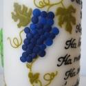 Gyertya idézettel szőlő és bor motívummal, Dekoráció, Otthon, lakberendezés, Gyertya, mécses, gyertyatartó, Dísz, Gyertya-, mécseskészítés, Egy kedves ismerős megrendelésére készült a képen látható gyertya, amin szőlőfürtök és egy boroshor..., Meska
