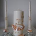 rózsás esküvői gyertya szett barack-bronz színben, Dekoráció, Esküvő, Otthon, lakberendezés, Gyertya, mécses, gyertyatartó, Gyertya-, mécseskészítés, Gyurma, Peppike26 megrendelésére készítettem a képen látható esküvői gyertya szettet.   Fehér és barack szí..., Meska