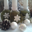 Szeretet lángja, Dekoráció, Karácsonyi, adventi apróságok, Virágkötés, Üveget ünnepi ruhába öltöztettem. Zöld szalagot, fehér filc díszt kapott. A nyakába egy krémszínű gy..., Meska