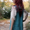 Türkiz -  ujjatlan géztunika XL, Ruha, divat, cipő, Női ruha, Blúz, Felsőrész, póló, Varrás, Festett tárgyak,   Ujjatlan,kézzel festett rusztikus-szövésű géztunika, alján ombre színezéssel, átlós hímzett ezüstö..., Meska