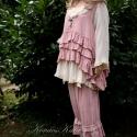 """""""Tereza """"- két részes lagenlook öltözet , Ruha, divat, cipő, Női ruha, Ruha, Kismamaruha, Varrás, Festett tárgyak, Ezt a vagány-romantikus két részesemet  halvány-rózsaszínre festettem. Nehéz, rusztikus gézből kész..., Meska"""