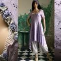"""""""Levendula kisasszony"""" - vintage romantika, Ruha, divat, cipő, Női ruha, Ruha, Varrás, Festett tárgyak, Vintage madeira-ruhát festettem matt levendula-lilára. Alját és az ujját megszabdaltam. Nyak-kivágá..., Meska"""