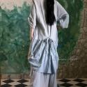 """""""Johanna"""" - romantikus- lagenlook ingruha XL, Ruha, divat, cipő, Női ruha, Ruha, Kismamaruha, Varrás, Festett tárgyak,    Rusztikus, könnyű, nyers pamutgézből finom víz-kékre festettem ezt a romantikus ingruhámat. Form..., Meska"""