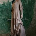 """""""Anna"""" ruha / mogyoróbarna  - Lagenlook design, Ruha, divat, cipő, Női ruha, Ruha, Varrás, Festett tárgyak, Kézzel festett nagyméretű hosszú ruha pamutvászonból. Bősége elöl-hátul kötővel szabályozható, aljá..., Meska"""