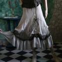 """""""Lencsi""""-fodros szoknya - bohém romantika, Ruha, divat, cipő, Női ruha, Szoknya, Varrás, Festett tárgyak,   Részekből készült, csípőre szabott csipkerátétes szoknya kockás fodorral, kézzel festett sávval, k..., Meska"""