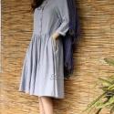 """""""Emily"""" college-dress / plain  - ezüstszürke , Ruha, divat, cipő, Női ruha, Ruha, Festett tárgyak, Varrás, Klasszikus vonalú, """"intézeti"""" stílusú, egyszerű, de jól szabott ruha. A gloknis szoknyarész oldala ..., Meska"""