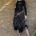 Patchwork szövetszoknya - bohém elegancia, Ruha, divat, cipő, Női ruha, Szoknya, Varrás, Patchwork, foltvarrás, Gondosan válogatott szövetekből készült, részekből szabott, bélelt szoknya.   Oldalt egy foltzsebbe..., Meska