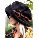 """""""Andersen"""" kalap, Ruha, divat, cipő, Kendő, sál, sapka, kesztyű, Sapka, Női ruha, Varrás, Fekete elefántkordból készült jól hordható selyemmel bélelt """"mesebeli"""" kalap. Nagy feltűrhető karim..., Meska"""