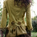 Diána kabátka - shabby-chic lolita, Ruha, divat, cipő, Női ruha, Kabát, Kosztüm, Varrás, Festett tárgyak, Puha flanelból készült kézzel festett romantikus kabátka. A mély lant alakú dekoltázst szegetlen fod..., Meska