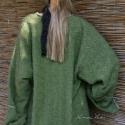 """""""Zöldalma"""" - avantgard béleletlen gyapjúkabátka L-XL, Ruha, divat, cipő, Női ruha, Kabát, Poncsó, Varrás, Olasz designer vastag gyapjúszövetből készítettem ezt az új vonalú béleletlen kabátkát. A Lagenlook ..., Meska"""
