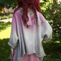 """""""Larissza"""" - dekoratív, romantikus tunika, Ruha, divat, cipő, Női ruha, Kismamaruha, Felsőrész, póló, Festett tárgyak, Varrás, Lezser, romantikus tunikámat vastag rusztikus bordás gézből terveztem. Két színűre festettem átmenet..., Meska"""