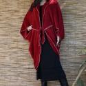 """Flapper chic:""""lepke""""-pelerin -  borvörös wellsoft köntös , Ruha, divat, cipő, Női ruha, Kabát, Poncsó, Varrás, Luxuspuhaságú, wellsoft anyagból készült kabátpótló pelerinem. Szélei lockolva kontúrozva, a csípőn..., Meska"""