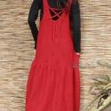 """""""Piroska"""" - azsúros-kötött flapper- kötényruha, Ruha, divat, cipő, Női ruha, Ruha, Varrás, Tűzpiros gépi-kötött kelméből terveztem ezt a sikkes mellényruhát.  Extravagáns nőknek ajánlom téli..., Meska"""