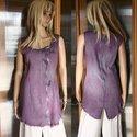 """""""Lobélia"""" - tunikaruha, Ruha, divat, cipő, Női ruha, Felsőrész, póló, Ruha, Festett tárgyak, Varrás, Rusztikusan szőtt  lágy lenes-szövetből készítettem ezt a testhez-álló modellem.  Lobélia-lilára fo..., Meska"""
