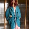 """""""Azúrlepke"""" -  polár pelerin , Ruha, divat, cipő, Női ruha, Poncsó, Kabát, Varrás, Nagy méretű tunikáim, ruháim fölé terveztem ezt a lepke-szabású kabátpótló pelerint. Anyaga puha, p..., Meska"""
