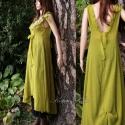 """""""Melanie""""  -  Kivi-zöld mellényruha, Ruha, divat, cipő, Női ruha, Ruha, Varrás, Festett tárgyak, Rusztikus, kreppes hernyóselyem-organzából készítettem ezt a romantikus, mell alatt szabott princes..., Meska"""