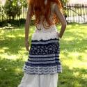 Kékfestő duplaszoknya, Ruha, divat, cipő, Női ruha, Szoknya, Varrás, Patchwork, foltvarrás, Vintage kékfestő- és antik-mintás lenszövet házasságából született a szoknya felső része némi cakko..., Meska
