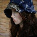 """""""Szélkalap""""- shabby chic  flapper- kalapocska, Ruha, divat, cipő, Kendő, sál, sapka, kesztyű, Sapka, Női ruha, Varrás, Zseníliás bútorszövetből készítettem ezt a fejhez simuló,aszimmetrikus  kalapocskát. Ernyője festet..., Meska"""