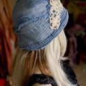 """""""Mia"""" - művészi flapper- kalap, Ruha, divat, cipő, Kendő, sál, sapka, kesztyű, Sapka, Női ruha, Varrás, Festett tárgyak, A '20-as évek stílusában készült puha filckalap selyembéléssel. A gézt és a neccet magam festettem ..., Meska"""