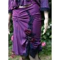 """""""Art to wear""""  püspöklila burett-kosztüm  XS - design ruha, Ruha, divat, cipő, Női ruha, Kosztüm, Ruha, Festett tárgyak, Varrás, Bohémül csinos, rusztikus-selyem kosztümke sok-sok sötétkék pamutcsipkével díszítve. A rafináltan s..., Meska"""