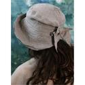 """""""Flamand"""" - lenvászon kalap - design kalap - 100% linen flax, Ruha, divat, cipő, Női ruha, Kendő, sál, sapka, kesztyű, Sapka, Varrás, Felhajtós elejű kalapom romantikus nőknek ajánlom.  Minőségi lenvászonból készítettem. A  tűzött ka..., Meska"""