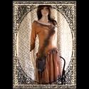 PALMA - design-ruha , Ruha, divat, cipő, Női ruha, Ruha, Varrás, Festett tárgyak, Őszi hangulatú, nőies modellem pamut-jerseyből és vékony rusztikus gézemből terveztem. Antik klöpli..., Meska