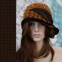 CLOCHE-ART kötött kalap, Ruha, divat, cipő, Női ruha, Kendő, sál, sapka, kesztyű, Sapka, Kötés, Téli extravagancia:  EXTRA-VASTAG, többszálas okkersárga rusztikus kézműves-gyapjú ,puha, narancs é..., Meska