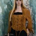 DIANA - leveles-kabátka, Ruha, divat, cipő, Női ruha, Kabát, Varrás, Patchwork, foltvarrás, Mustársárga spandexből terveztem ezt a kedvelt fazonom. Pliszés-selyem-rátét díszíti, mely leveles ..., Meska