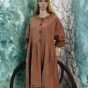 PEGGY - kabát-ruha, Ruha, divat, cipő, Kismamaruha, Női ruha, Ruha, Varrás, Festett tárgyak, Puha, meleg, őz-barnára kézzel-festett bolyhozott pamutvászonból készült modellem a réteges öltözkö..., Meska