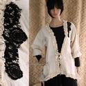 HERMINA design-kabátka , Ruha, divat, cipő, Női ruha, Kabát, Varrás, Kényelmesen-romantikus darab a réteges öltözködéshez:  Nyers-vászonból készült extravagáns kabátka ..., Meska