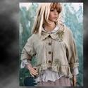 CATHY kabátka, Ruha, divat, cipő, Női ruha, Kabát, Varrás, Festett tárgyak, A vintage stílus szerelmeseinek:  Rusztikus, puha pamutvászonból terveztem, keki-színnel festettem ..., Meska