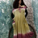CARELA - kötényruha, Ruha, divat, cipő, Kismamaruha, Női ruha, Ruha, Festett tárgyak, Varrás, Nyers, bolyhozott pamutvászonból terveztem ezt a bohém modellemet, kézzel festettem banánsárga-bord..., Meska