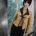 ROVÁTKÁS kabátka, Ruha, divat, cipő, Női ruha, Kabát, Varrás, Karcsúsított rövid kabátka különleges, okker-fekete színű kétoldalas dizájner textilből. Cakkos, fe..., Meska
