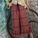COUNTRY-naci, Ruha, divat, cipő, Női ruha, Nadrág, Varrás, Kockás-csíkos olasz dizájner gézes szövésű anyagból (pamut/gyapjú) készítettem ezt a vagány fodros ..., Meska