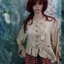 SZANDRA - ingkabátka, Ruha, divat, cipő, Női ruha, Felsőrész, póló, Kabát, Varrás, Festett tárgyak, Rusztikus, nehéz gézből tejeskávé-színre festettem ezt a bohókás ingkabátomat. Elejét fodrok, csipk..., Meska