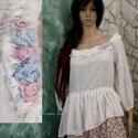 ROMY - voile-blúz , Ruha, divat, cipő, Női ruha, Blúz, Kismamaruha, Varrás, Rusztikus, csíkosan szőtt könnyű pamut-voiléből készítettem ezt a romantikus- fodros modellem.  A d..., Meska