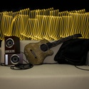 Akusztikus gitár alakú párna különleges, egyedi hímzéssel, Mindenmás, Otthon, lakberendezés, Férfiaknak, Hangszer, zene, Varrás, Rock Párna / Barna színű, egyedi hímzéssel készült gitár alakú párna  Test anyaga: Barna színű text..., Meska