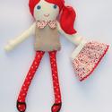 Vörös hajú  textilbaba levehető szoknyával, Baba-mama-gyerek, Játék, Játékfigura, Plüssállat, rongyjáték, , Meska